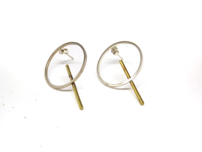 Small Brass Circle and Wire studs