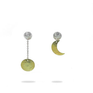 Daphne & Molly Mismatched Hammer Brass Moon drop earrings