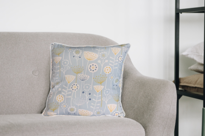 Daphne & Molly Skandi style cushion with embroidered Kingfisher and Bee